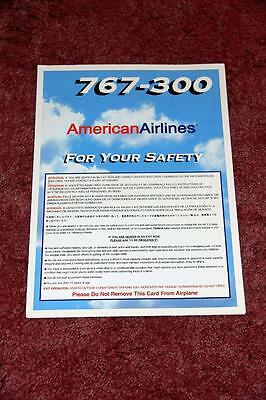 American Airlines Boeing 767-300 Safety Card