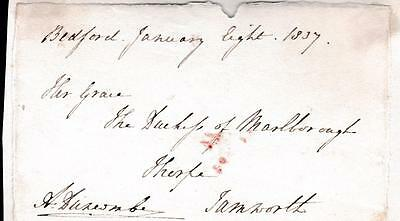 GB 1837 Free Frank Front signed A DUNCOMBE Admiral RN MP East Retford