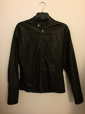 French Connection - Mens Faux Leather Jacket - Black - Size Medium