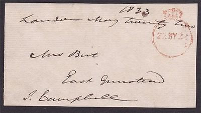 GB 1833 Free Frank Front signed J CAMPBELL MP for Stafford