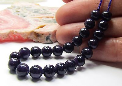 """22 NATURAL UNTREATED AFRICAN PURPLE SUGILITE ROUND BEADS 6mm 41ctw 5.1"""" strand"""