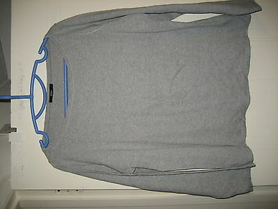 M&S Marks & SpencerGrey Marl Long Sleeved Cotton T-Shirt Top Size 18