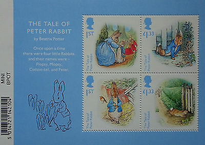Mint GB stamps.  The Tale of Peter Rabbit, Beatrix Potter.  Miniature sheet