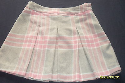 Next,pink/grey Checked,pleated Fleecey Skirt Age 13