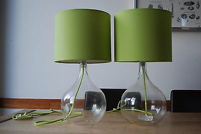 Pair of glass table lamps with green cords/ shades