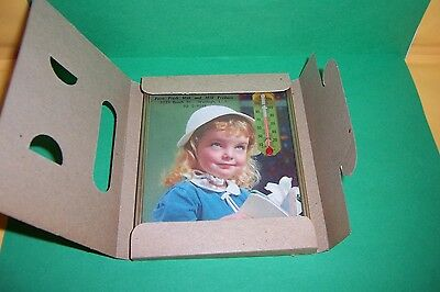 Vintage Framed 1960 Little Girl  & Thermometer with Calendar Advertising New