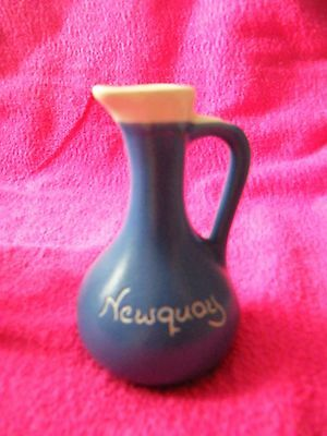 Fosters Studio Pottery Cornwall blue and white jug Newquay souvenir.