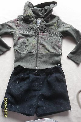 Oilily/nutmeg/replay,sparkle Outfit,blue Shorts,top,jacket/cardigan Age 3-4