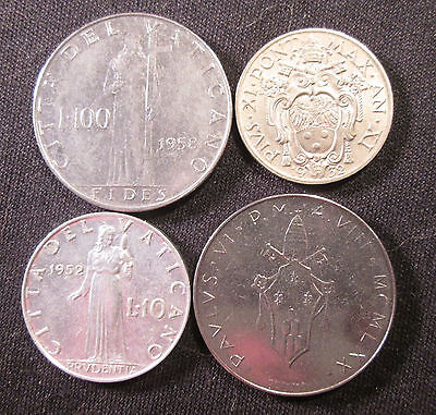 4 Different Coins from the Vatican with 20 Centesimi from 1932