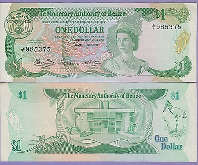 Belize 1 Dollar Banknote 1.6.1980 About Uncirculated Condition Cat#38-A-5375