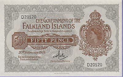 Falkland Islands 50 Pence Banknote 20.2.1974 Choice About Uncirculated Cat#10-20