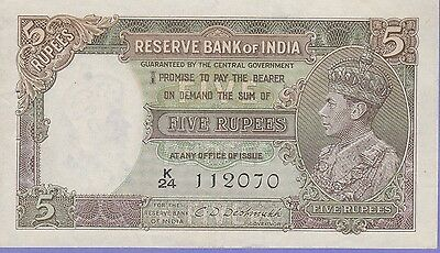 India-British 5 Rupees Banknote (1943) Choice Extra Fine Condition Cat#18-B-2070