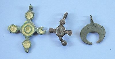 Medieval Viking Period Christianity Cross & Moon shaped Pendants lot