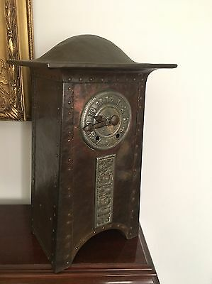 Rare Antique Arts And Crafts Hammered Copper And Pewter Mantel Clock