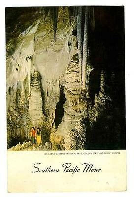 Southern Pacific Railroad Menu 1948 Carlsbad Caverns Golden State Sunset Routes
