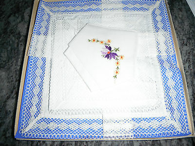 Vintage Boxed Set Of Three Ladies Handkerchiefs - 2 Lace Edged, 1 Embroidered.