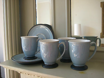 Denby blue cups and saucers (4 cups, 2 saucers)