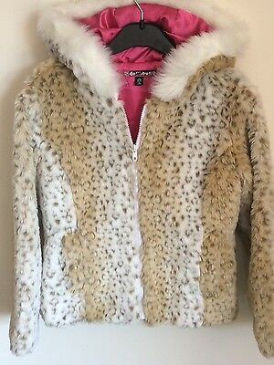 Jacket 9/10 faux fur Hood  Animal Print Snow Leopard Animal Print