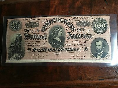 100 Dollar Bill Of The Confederate States Of America 1864