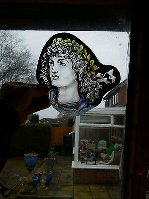 Victorian Edwardian Medieval Style Stained Glass Panel.