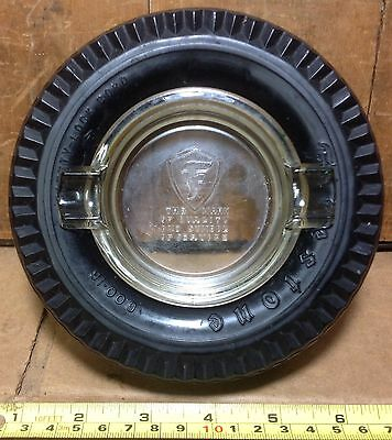 Vintage Firestone Tire Ashtray Mark of Quality and Service Glass Insert