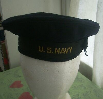 US Navy cap/beret/hat sailor  100% wool/grosgrain band/ leather inner band 6&7/8