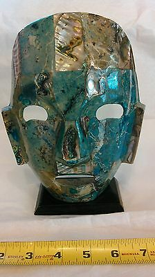 Maya Hand crafted Mother of pearl Mask w/stand