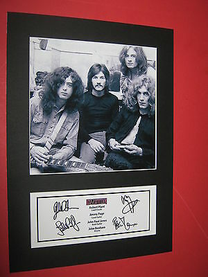 Led Zeppelin A4 Photo Mount Signed Pre-Printed Robert Plant Jimmy Page Ticket Cd
