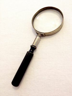 Antique Edwardian Quality Silver Brass Bijou Magnifying Glass Turned Wood Handle