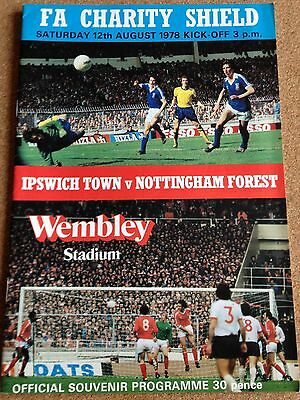 Ipswich Town v Nottingham Forest Charity Shield 12th August 1978 Programme