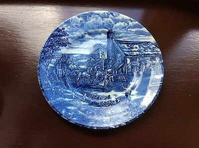 The Post House Blue and White 9 ins 23 c Ironstone Plate by Wood & Sons - Lovely