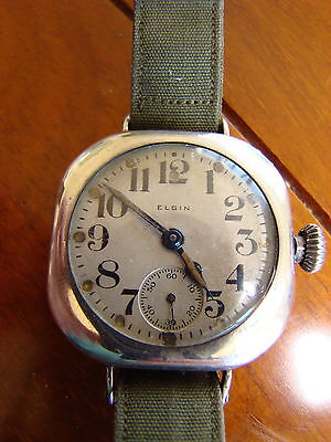 Ww1 Military Elgin Sterling Pillow Case Watch