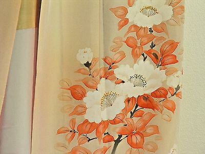 Vintage Woman's Kimono in Peach with White Flowers and Metallic Highlights
