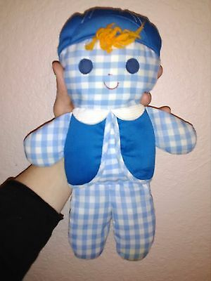 """Vintage 1977 Fisher Price Cloth Rattle Baby Toy~Blue Gingham Boy~13"""""""
