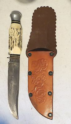 Vintage Pic Solingen Germany Horn Handle Hunting Knife With Sheath