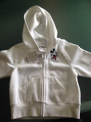 Disney Mickey Mouse White Zip Hoodie Size 4-5 From Disney World BNWT