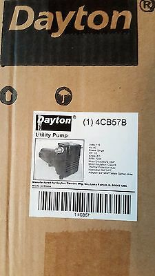 "Utility Pump Dayton 1/2 HP 115 V, 8 A, 1 PH, 3/4"" NPT Inlet, 3/4"" NPT Outlet New"