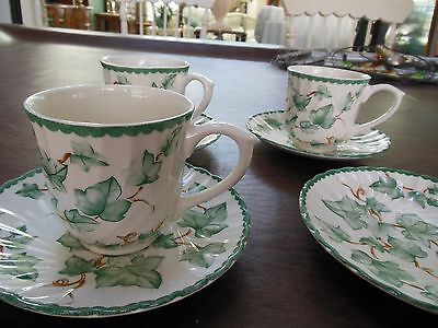 International China Co. Country Vine pattern 4 cups 4 saucers