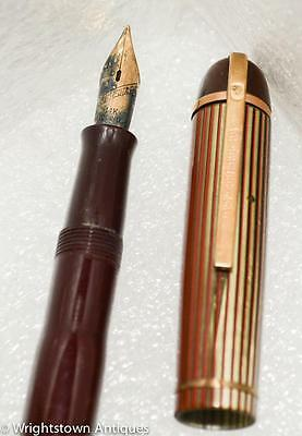Vtg 1940s Wahl Eversharp SKYLINE FOUNTAIN PEN 14K Nib Striped Cap
