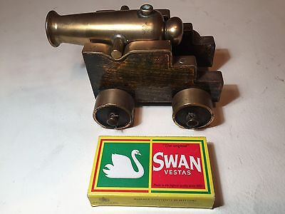 Heavy Brass Cannon on Brass and Wood Naval Carriage