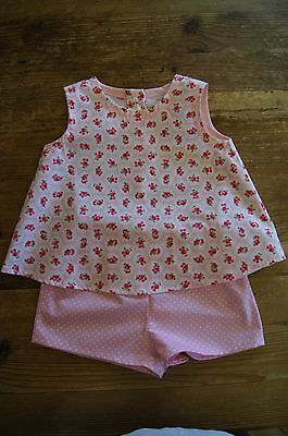 Handmade vintage retro romany top & shorts set pink bubble roses spots age 3