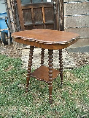 Antique Solid Quarter Sawn Tiger Oak 2 Tier Parlor Lamp Center Table