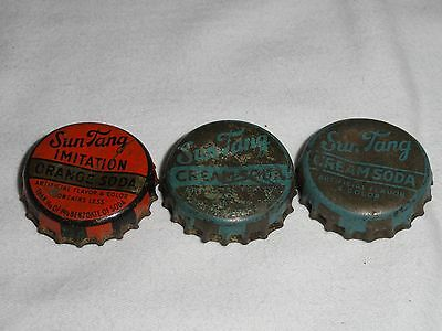 """Set Of 3 Different Used """"sun Tang"""" Cork Lined Soda Bottle Caps - Dr. Pepper"""