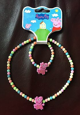 Peppa Pig Necklace and Bracelet Set with Colourful Beads - Brand New With Tag