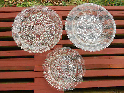 3 Old Antique Lacy Glass Plates Hearts Flowers Geometric