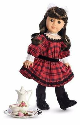American Girl Samantha Beforever Holiday Set Dress Tea Set Boots Nib -