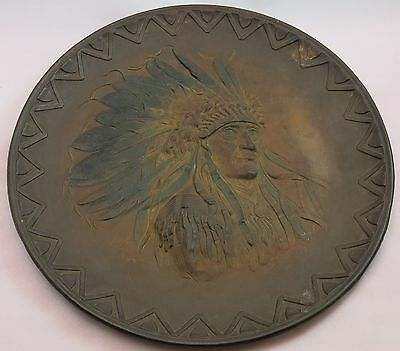 Ornate Antique C. 1910 Cast Iron Native American Navajo Indian Chief Portrait
