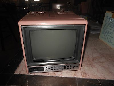 "Vintage Zenith Portable 9"" Color TV Pink CUBE RARE RETRO MODERN Works"