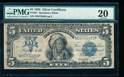 AC Fr 281 1899 $5 Silver Certificate PMG 20 CHIEF NOTE