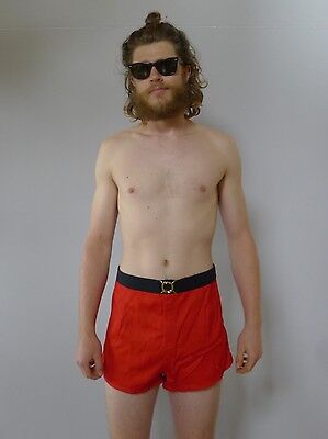 Vintage retro 1950s XL unused red trunks swimsuit shorts mens NOS